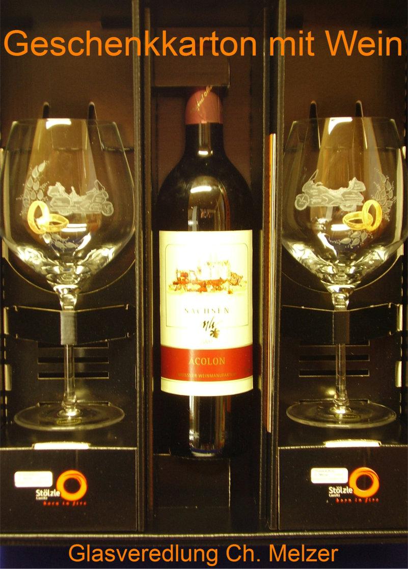Weinverpackung,Gläser mit Gravur